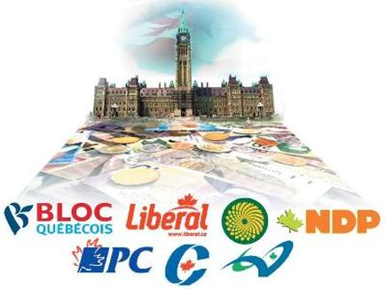 A collage image of the Parliament building the logos of the Bloc Québécois, Liberal, Green, New Democratic Party, and Progressive Conservative parties.
